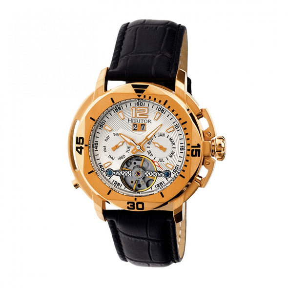 Heritor Automatic Lennon Semi-Skeleton Leather-Band Watch - Rose Gold/Silver
