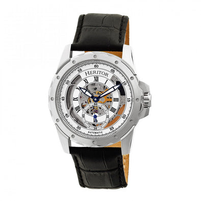 Heritor Automatic Armstrong Skeleton Leather-Band Watch - Silver HERHR3401
