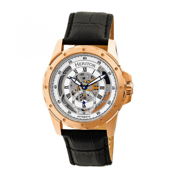 Heritor Automatic Armstrong Skeleton Leather-Band Watch - Rose Gold/Silver