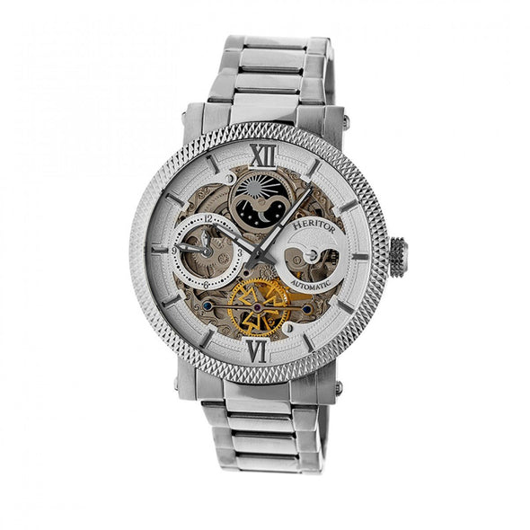 Heritor Automatic Aries Skeleton Dial Bracelet Watch - Silver