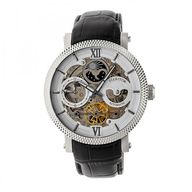 Heritor Automatic Aries Skeleton Leather-Band Watch - Silver