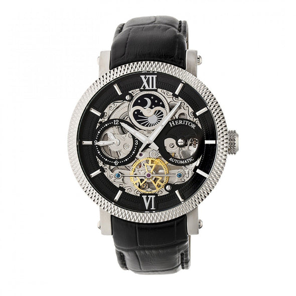 Heritor Automatic Aries Skeleton Leather-Band Watch - Silver/Black/Black