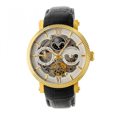 Heritor Automatic Aries Skeleton Leather-Band Watch - Black/Gold HERHR4406