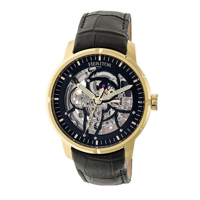 Heritor Automatic Ryder Skeleton Leather-Band Watch - Black/Gold HERHR4604