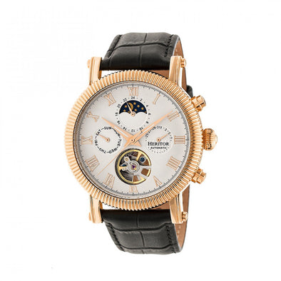 Heritor Automatic Winston Semi-Skeleton Leather-Band Watch - Rose Gold/White HERHR5205