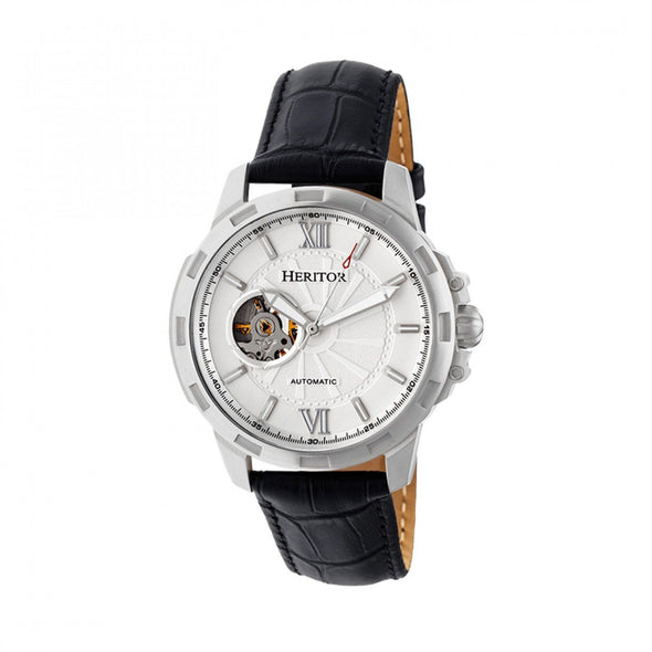Heritor Automatic Bonavento Semi-Skeleton Leather-Band Watch - Silver HERHR5601