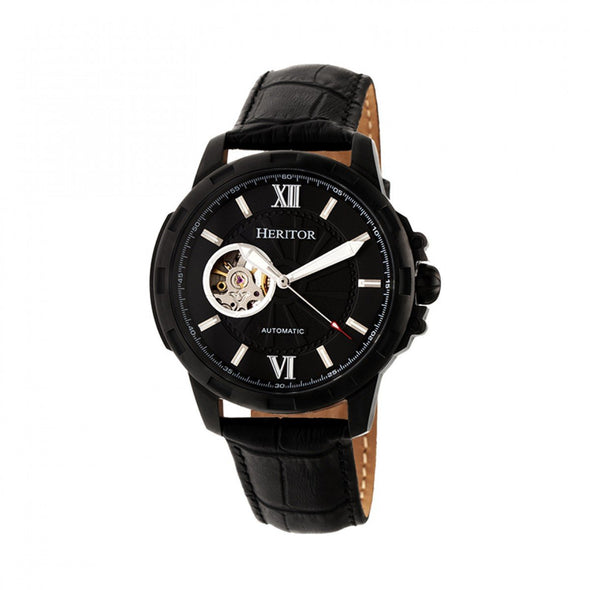 Heritor Automatic Bonavento Semi-Skeleton Leather-Band Watch - Black HERHR5606