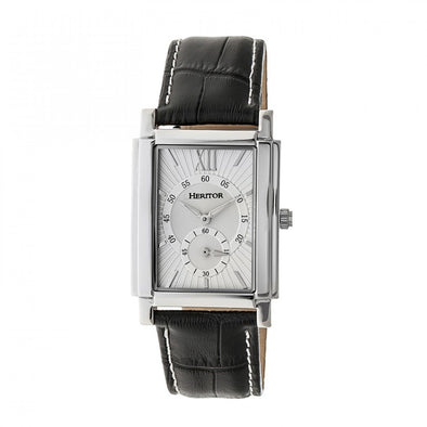 Heritor Automatic Frederick Leather-Band Watch - Silver HERHR6101