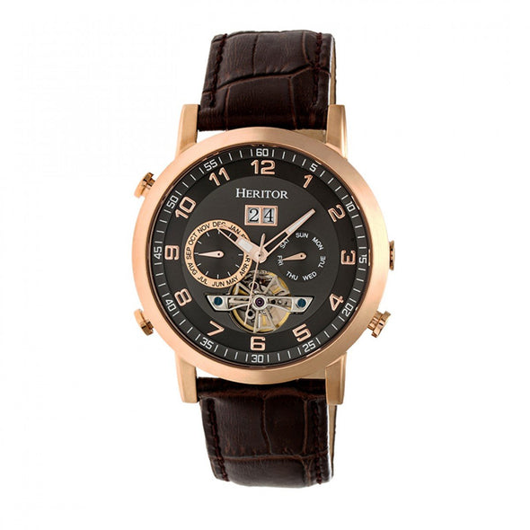 Heritor Automatic Edmond Leather-Band Watch w/Date - Rose Gold/Black HERHR6205