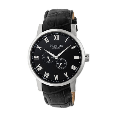 Heritor Automatic Romulus Leather-Band Watch - Silver/Black HERHR6404