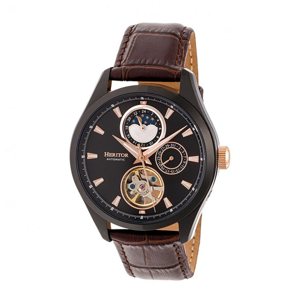 Heritor Automatic Sebastian Semi-Skeleton Leather-Band Watch- Black/Brown HERHR6906