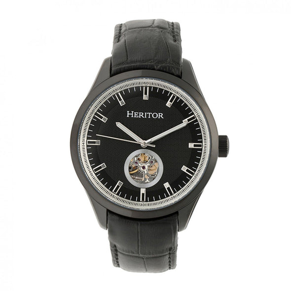 Heritor Automatic Crew Semi-Skeleton Leather-Band Watch - Black HERHR7008
