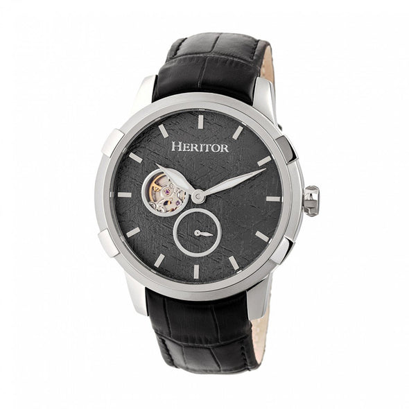 Heritor Automatic Callisto Semi-Skeleton Leather-Band Watch - Silver/Grey