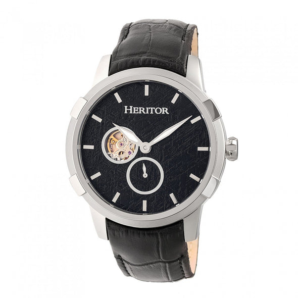 Heritor Automatic Callisto Semi-Skeleton Leather-Band Watch - Silver/Black HERHR7202
