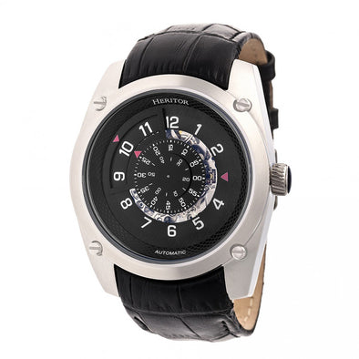 Heritor Automatic Daniels Semi-Skeleton Leather-Band Watch - Silver/Black HERHR7403