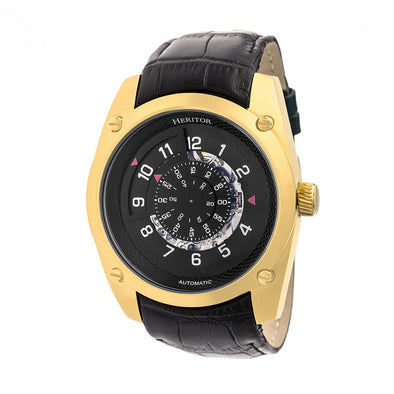 Heritor Automatic Daniels Semi-Skeleton Leather-Band Watch - Gold/Black HERHR7405