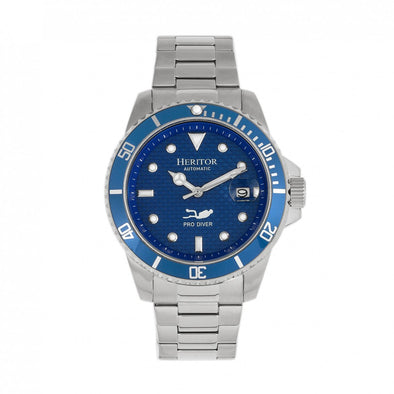 Heritor Automatic Lucius Bracelet Watch w/Date - Silver/Blue HERHR7803