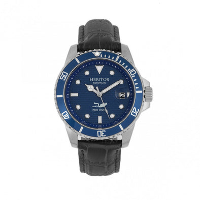 Heritor Automatic Lucius Leather-Band Watch w/Date - Silver/Blue HERHR7809