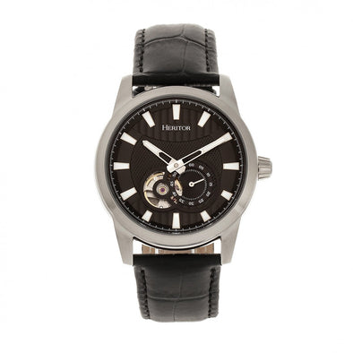 Heritor Automatic Davidson Semi-Skeleton Leather-Band Watch - Silver/Black HERHR8002