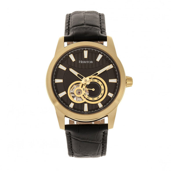 Heritor Automatic Davidson Semi-Skeleton Leather-Band Watch - Gold/Black HERHR8005