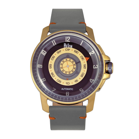 Reign Monarch Automatic Domed Sapphire Crystal Leather-Band Watch - Gold/Grey REIRN5202