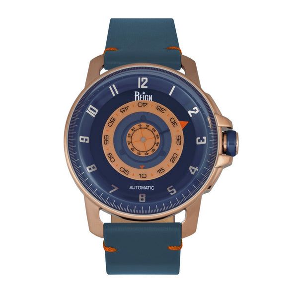 Reign Monarch Automatic Domed Sapphire Crystal Leather-Band Watch - Rose Gold/Blue REIRN5203