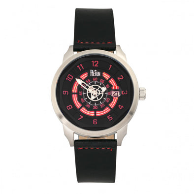 Reign Lafleur Automatic Leather-Band Watch w/Date - Silver/Red REIRN5405