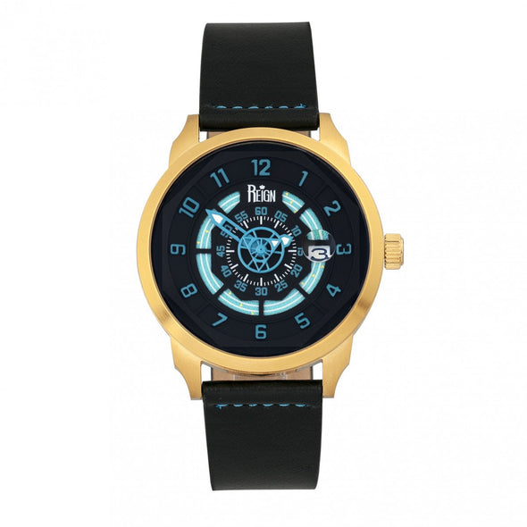 Reign Lafleur Automatic Leather-Band Watch w/Date - Gold/Teal REIRN5406