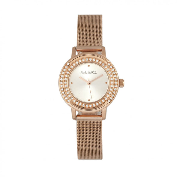 Sophie & Freda Cambridge Bracelet Watch w/Swarovski Crystals - Rose Gold SAFSF4102
