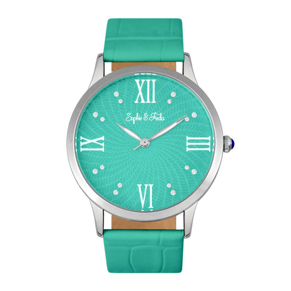 Sophie & Freda Sonoma Leather-Band Watch w/Swarovski Crystals - Silver/Teal SAFSF4403