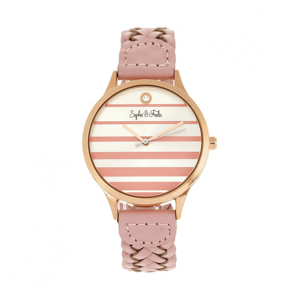 Sophie & Freda Tucson Leather-Band Watch w/Swarovski Crystals - Rose Gold/Pink SAFSF4506