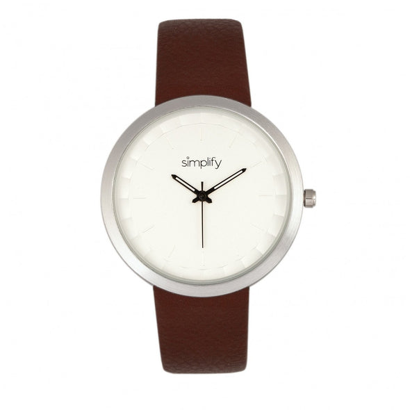 Simplify The 6000 Leather-Band Watch - Silver/Brown SIM6001