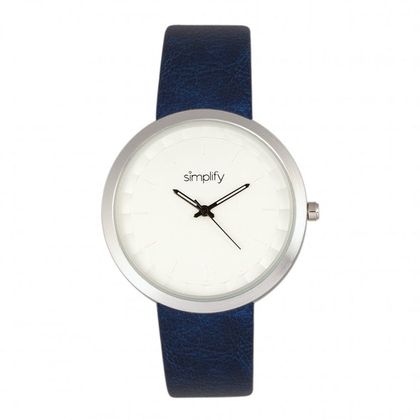 Simplify The 6000 Leather-Band Watch - Silver/Blue SIM6002