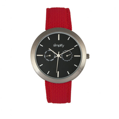 Simplify The 6100 Canvas-Overlaid Strap Watch w/ Day/Date - Black/Red SIM6105