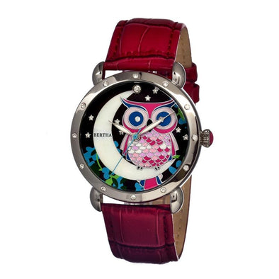 Bertha Ashley MOP Leather-Band Ladies Watch - Silver/Red BTHBR3001