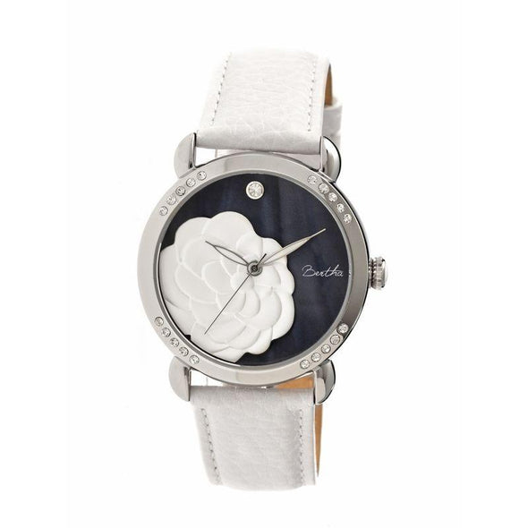 Bertha Daphne MOP Leather-Band Ladies Watch - White/Black BTHBR4602
