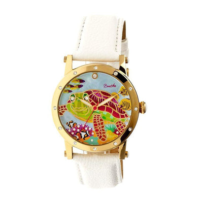 Bertha Chelsea MOP Leather-Band Ladies Watch - Gold/White BTHBR4903