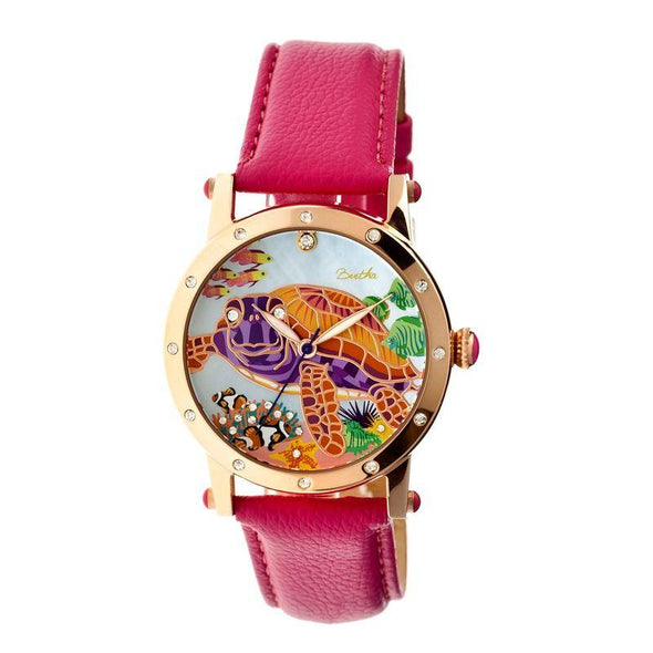 Bertha Chelsea MOP Leather-Band Ladies Watch - Rose Gold/Pink BTHBR4904