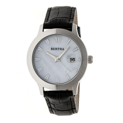 Bertha Eden Mother-Of-Pearl Leather-Band Watch w/Date - Black/Silver BTHBR6501