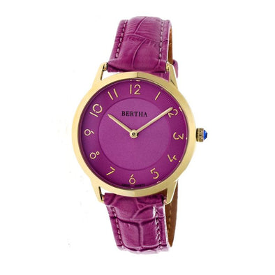 Bertha Abby Swiss Leather-Band Watch - Gold/Fuchsia