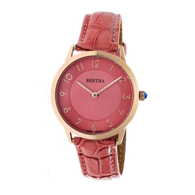 Bertha Abby Swiss Leather-Band Watch - Rose Gold/Coral