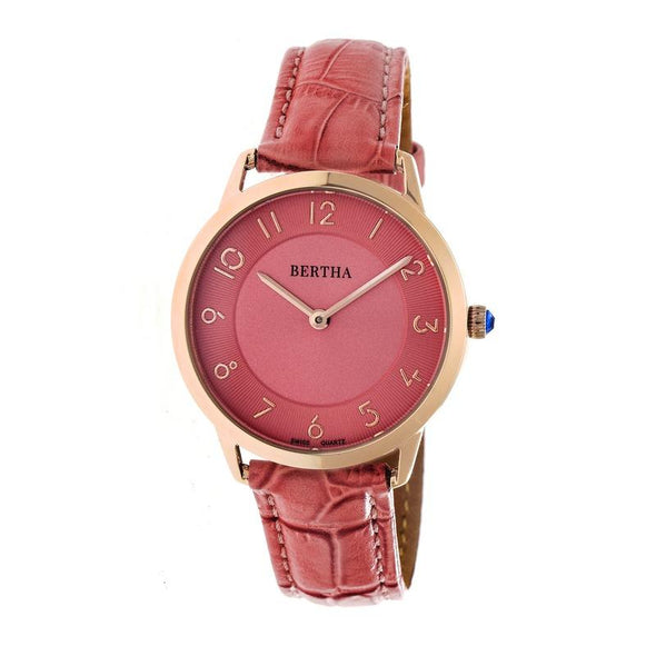 Bertha Abby Swiss Leather-Band Watch - Rose Gold/Coral BTHBR6807