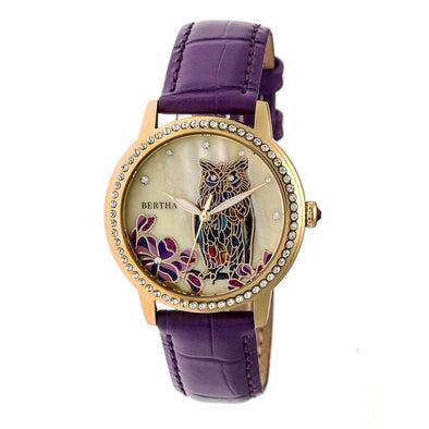 Bertha Madeline MOP Leather-Band Watch - Plum BTHBR7107