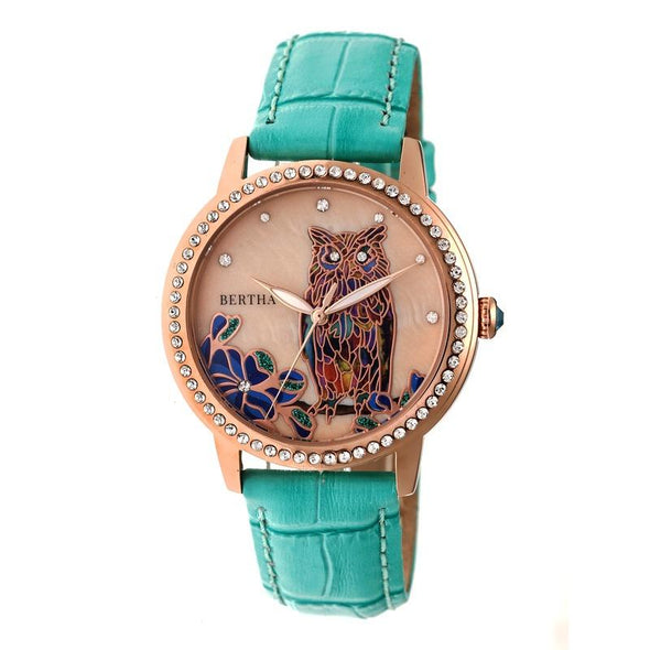Bertha Madeline MOP Leather-Band Watch - Turquoise