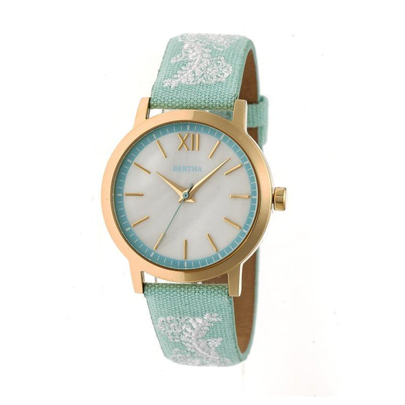 Bertha Penelope MOP Leather-Band Watch - Mint BTHBR7302
