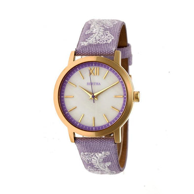 Bertha Penelope MOP Leather-Band Watch - Lavender  BTHBR7303