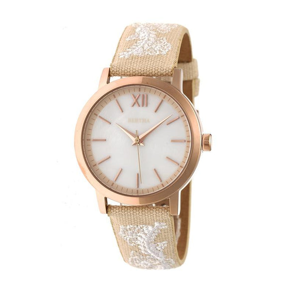 Bertha Penelope MOP Leather-Band Watch - Cream  BTHBR7304