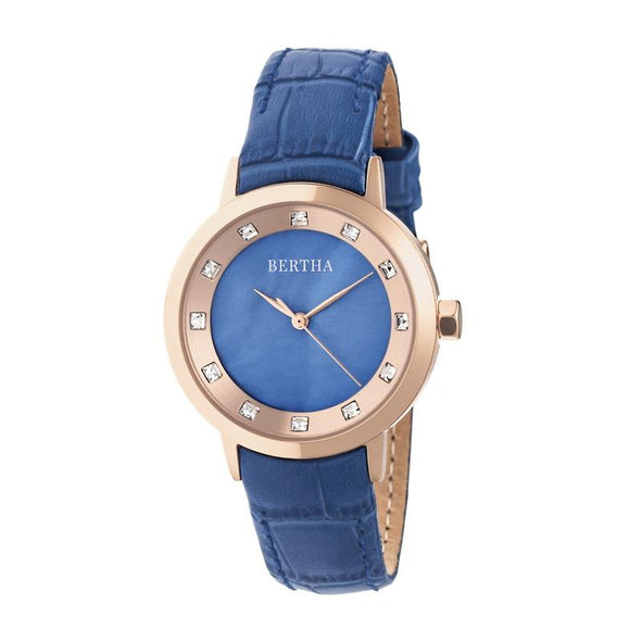 Bertha Cecelia Leather-Band Watch - Blue