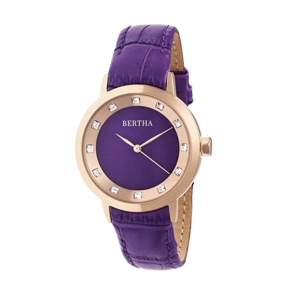 Bertha Cecelia Leather-Band Watch - Purple BTHBR7506