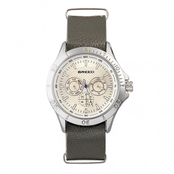 Breed Dixon Leather-Band Watch w/Day/Date - Silver/Grey BRD7301